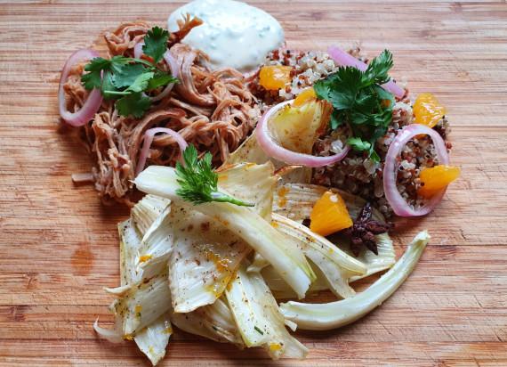 Pulled Pork met venkel, sinaasappel, quinoa en koriandermayo